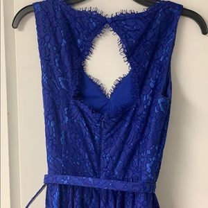 Eliza J Dresses - Eliza J blue lace belted dress